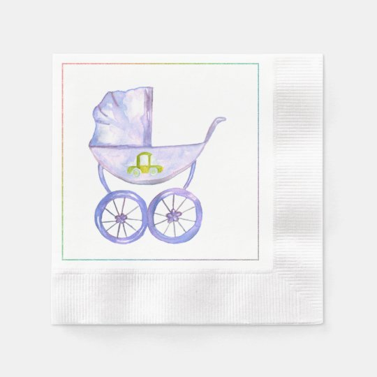 Pastel Lavender Baby Carriage Napkins Disposable Napkins