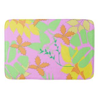 Pastel Leaves Bathroom Mat