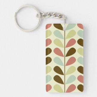 Pastel Leaves Pattern Keychain