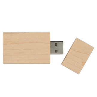 Pastel Lemon Yellow and White Stripes Pale Yellow Wood USB 2.0 Flash Drive