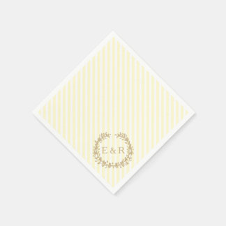 Pastel Lemon Yellow Pale Butter Wreath and Sprig Paper Napkins