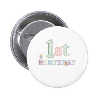 Pastel Letters 1st Birthday 2 Inch Round Button