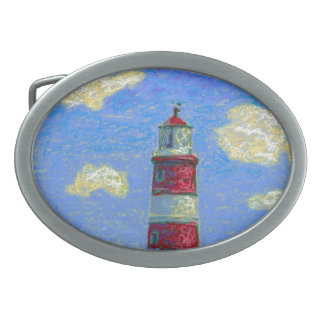 Pastel Lighthouse and Lavender Fields Belt Buckles
