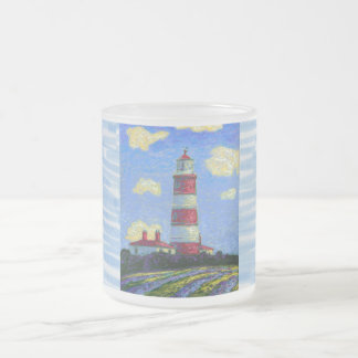 Pastel Lighthouse and Lavender Fields Frosted Glass Coffee Mug