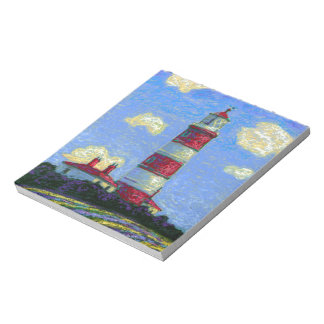 Pastel Lighthouse and Lavender Fields Notepad