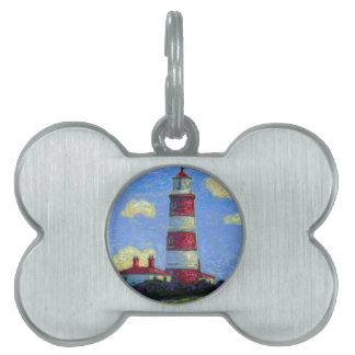 Pastel Lighthouse and Lavender Fields Pet Tag
