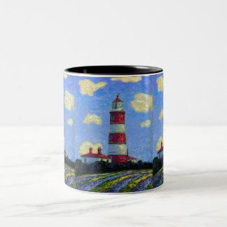 Pastel Lighthouse and Lavender Fields Two-Tone Coffee Mug