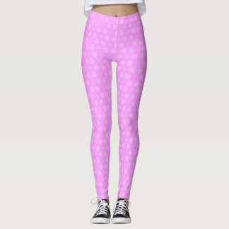 Pastel Lilac Purple White Star Repeating Pattern Leggings