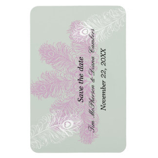 Pastel Lilac White Peacock Feathers Rectangular Photo Magnet