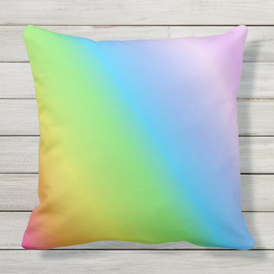 Pastel Linear Rainbow Outdoor Pillow