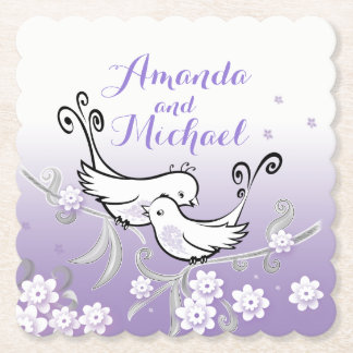Pastel love birds custom wedding coaster