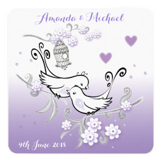 Pastel love birds personalised wedding invite