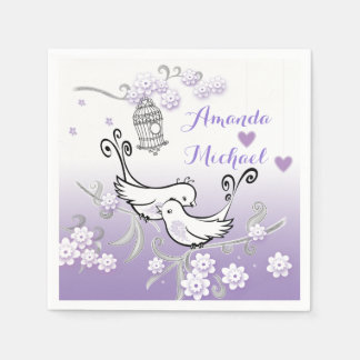 Pastel love birds wedding custom serviette paper napkin