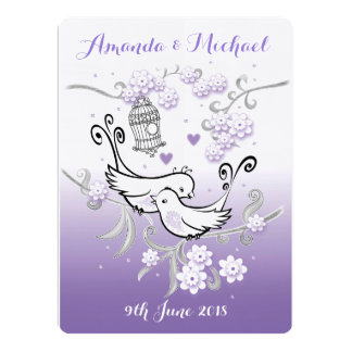 Pastel lovebirds custom large wedding invite