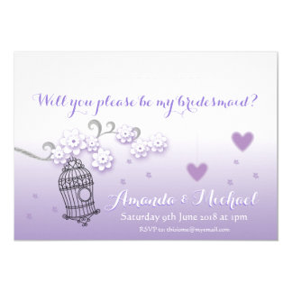 Pastel lovebirds wedding custom Bridesmaid invite