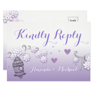 Pastel lovebirds wedding custom Kindly Reply card
