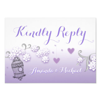 Pastel lovebirds wedding custom Kindly Reply card