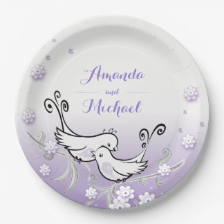 Pastel lovebirds wedding custom plate 9 inch