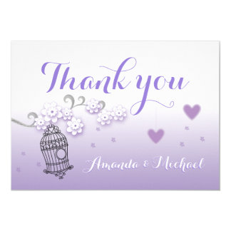 Pastel lovebirds wedding custom Thank You card