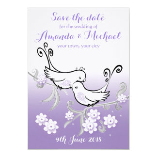 Pastel lovebirds wedding Save the Date postcard