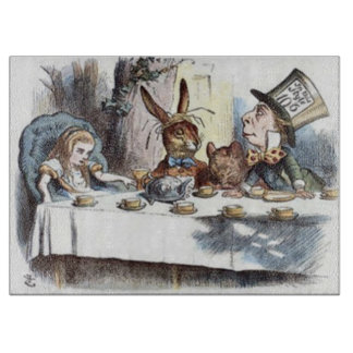 Pastel Mad Hatters Tea Party Cutting Board