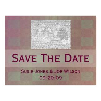 pastel mauve grey save the date postcard