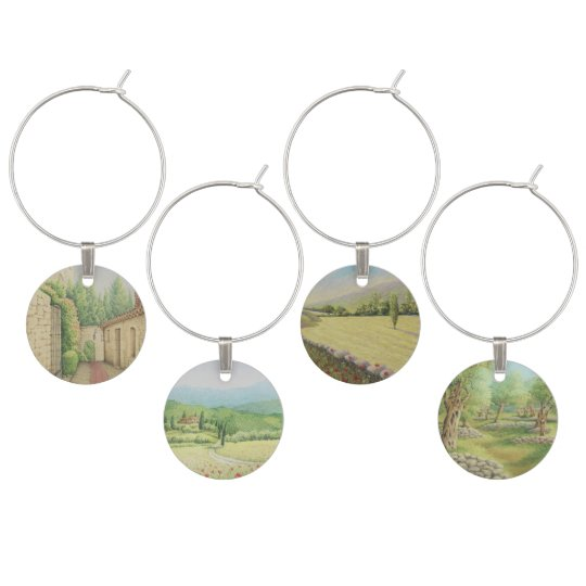 Pastel Mediterranean Landscapes Wine Glass Charms