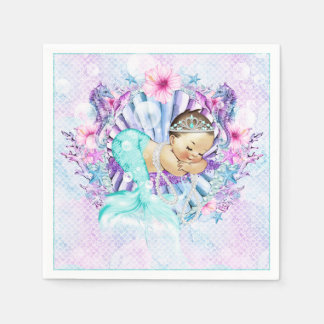 Pastel Mermaid Baby Shower Napkins Disposable Napkins