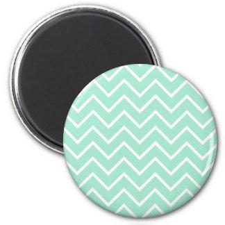 Pastel Mint Chevron Pattern 2 Inch Round Magnet
