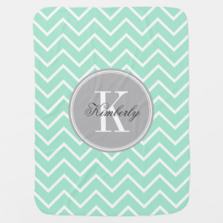 Pastel Mint Chevron with Gray Chevron Baby Blanket