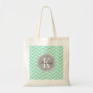 Pastel Mint Chevron with Gray Monogram Tote Bag