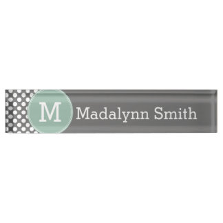 Pastel Mint & Gray Polka Dots with Custom Monogram Nameplate