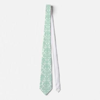 Pastel Mint-Green 3 Vintage Floral Damasks Tie