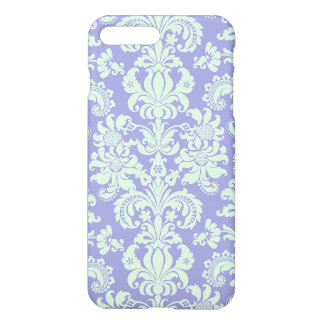 Pastel Mint Green And Lavender Floral Damasks iPhone 7 Plus Case