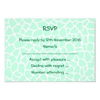"""Pastel Mint Green Animal Print Giraffe Pattern 3.5"""" X 5"""" Invitation Card"""