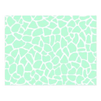 Pastel Mint Green Animal Print Giraffe Pattern Postcard
