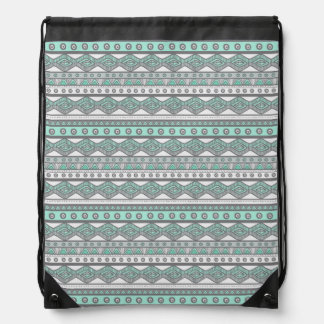 Pastel Mint Green Gray Girly Aztec Trendy Backpack