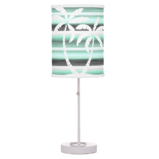Pastel Mint Green Gray Watercolor Stripes Pattern Desk Lamps