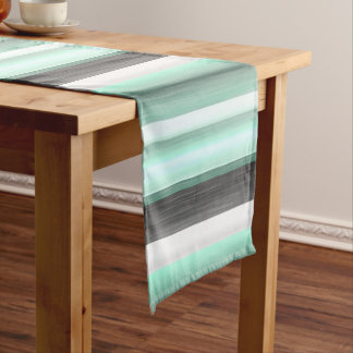 Pastel Mint Green Gray Watercolor Stripes Pattern Medium Table Runner
