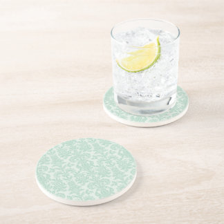 Pastel Mint Green Vintage Floral Damasks Coaster