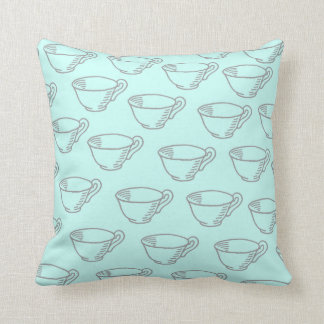 Pastel Mint Green Vintage Grey Tea Cup Pattern Throw Pillow