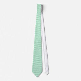 Pastel Mint Green Zigzag Chevron pattern Tie