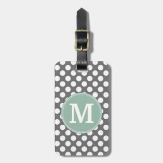 Pastel Mint & Grey Polka Dots with Custom Monogram Luggage Tag