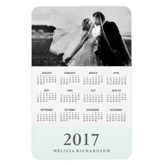Pastel Mint Stripe | Elegant 2017 Photo Calendar Rectangular Photo Magnet