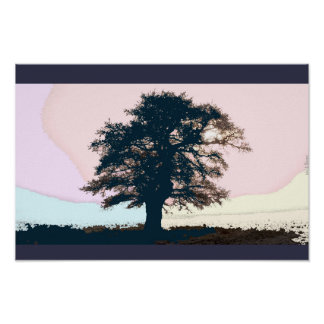 Pastel Misty Tree Art Poster
