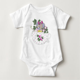 Pastel Mouse in Ivy Teacup Baby Bodysuit