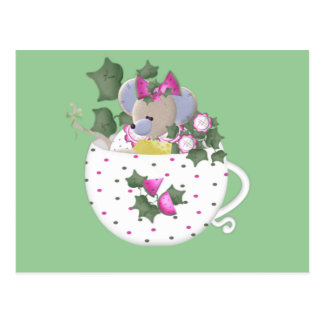 Pastel Mouse in Ivy Teacup Postcard