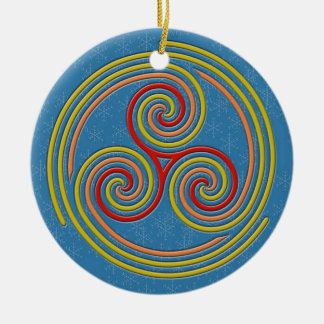 Pastel Multi Spiral on Sky Blue & Snowflakes Ceramic Ornament