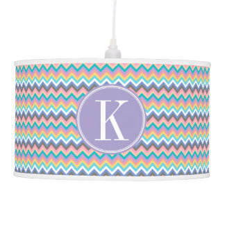 Pastel Multicolor Chevron with Lilac Monogram Ceiling Lamp