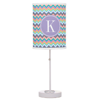 Pastel Multicolor Chevron with Lilac Monogram Table Lamps
